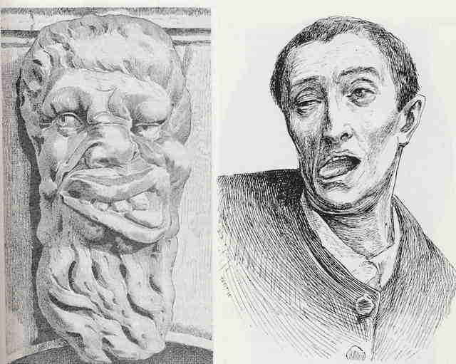 On the left a carved wooden mask with exaggerated features and tongue lolling out, on the right a Hand etched drawing of male head with tongue lolling out.